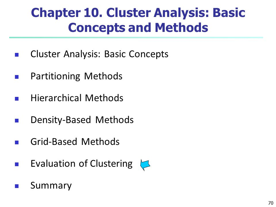 70 Chapter 10. Cluster Analysis: Basic Concepts and Methods Cluster Analysis: Basic Concepts Partitioning Methods Hierarchical Methods Density-Based M