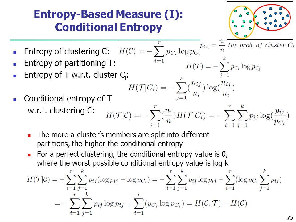 Entropy-Based Measure (I): Conditional Entropy Entropy of clustering C: Entropy of partitioning T: Entropy of T w.r.t. cluster C i : Conditional entro