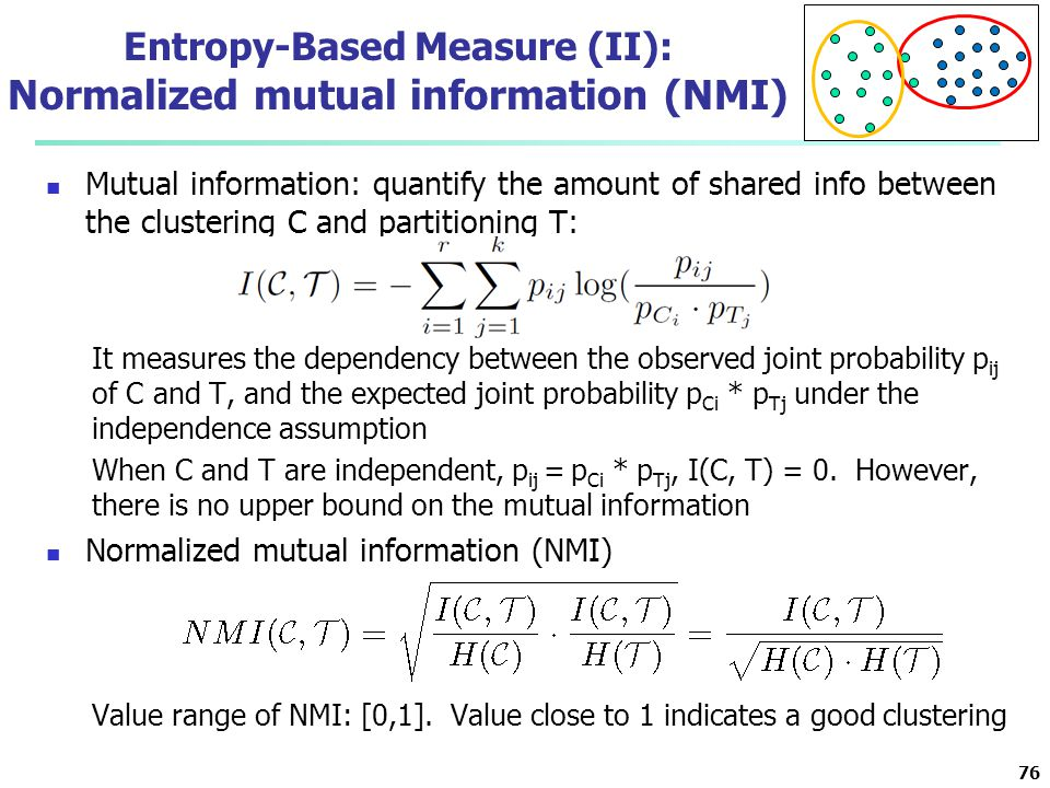 Entropy-Based Measure (II): Normalized mutual information (NMI) Mutual information: quantify the amount of shared info between the clustering C and pa