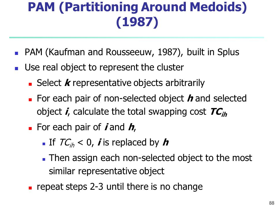 88 PAM (Partitioning Around Medoids) (1987) PAM (Kaufman and Rousseeuw, 1987), built in Splus Use real object to represent the cluster Select k repres