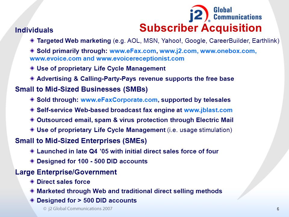 6 Subscriber Acquisition Individuals Targeted Web marketing (e.g.