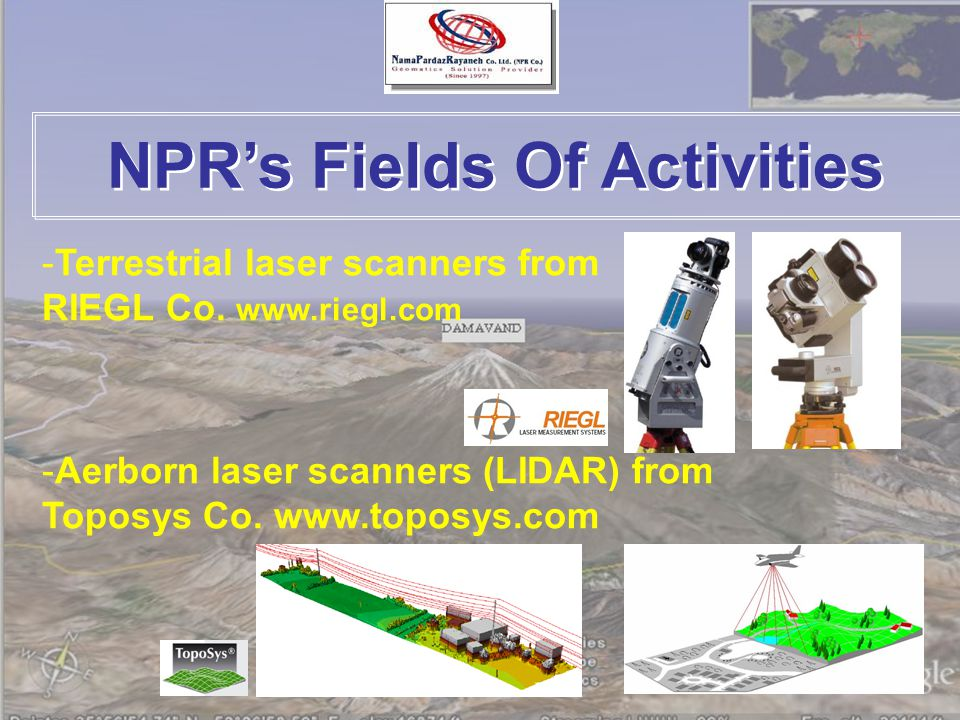 NPR's Fields Of Activities -Terrestrial laser scanners from RIEGL Co.