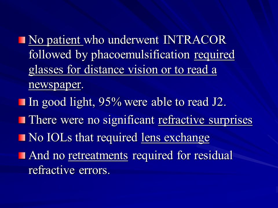 No patient who underwent INTRACOR followed by phacoemulsification required glasses for distance vision or to read a newspaper.