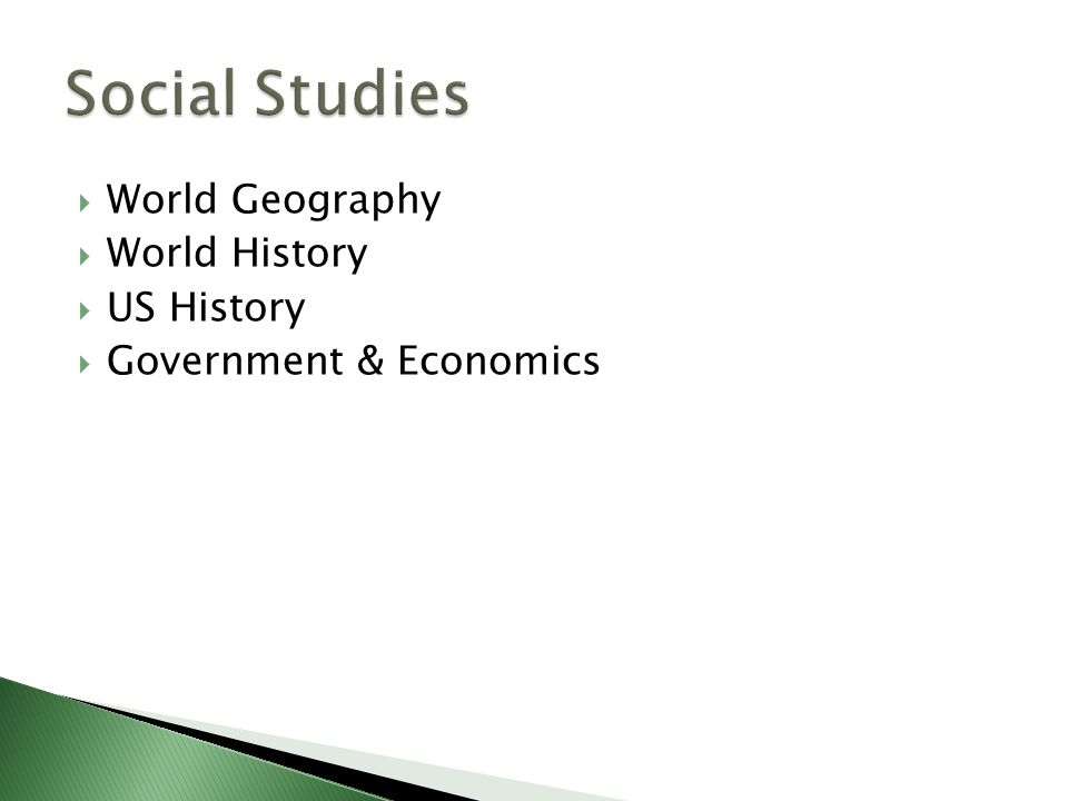  World Geography  World History  US History  Government & Economics