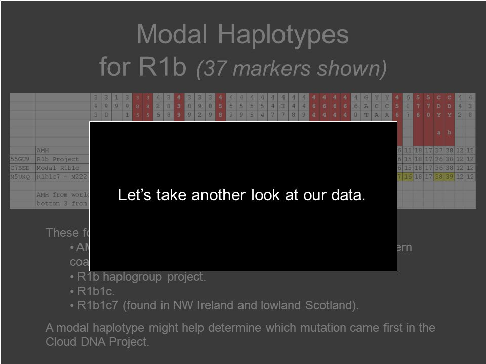 Modal Haplotypes for R1b (37 markers shown) These four Modal values come from different studies.