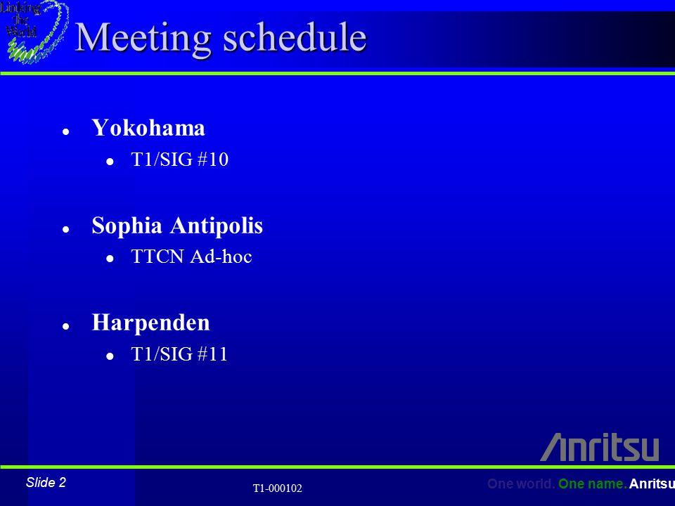 Slide 2 One world. One name. Anritsu T1-000102 Meeting schedule l Yokohama l T1/SIG #10 l Sophia Antipolis l TTCN Ad-hoc l Harpenden l T1/SIG #11