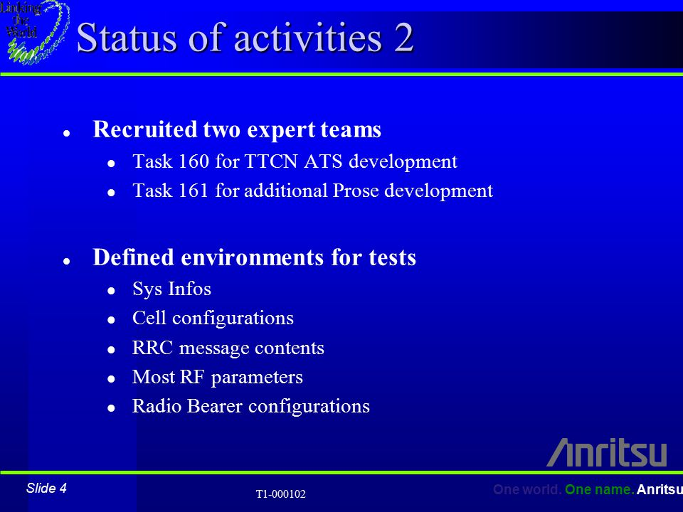 Slide 4 One world. One name. Anritsu T1-000102 Status of activities 2 l Recruited two expert teams l Task 160 for TTCN ATS development l Task 161 for
