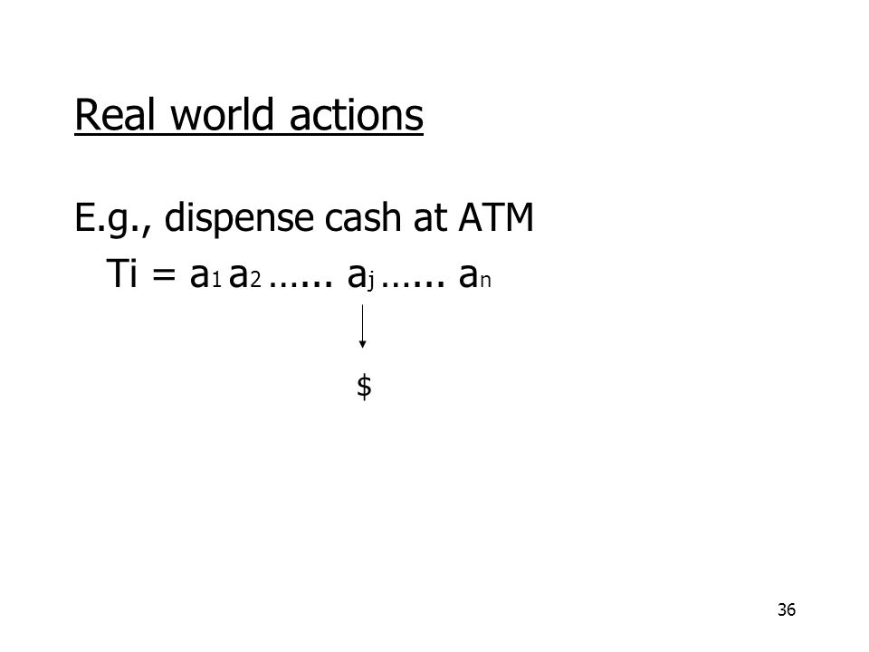 36 Real world actions E.g., dispense cash at ATM Ti = a 1 a 2 …... a j …... a n $