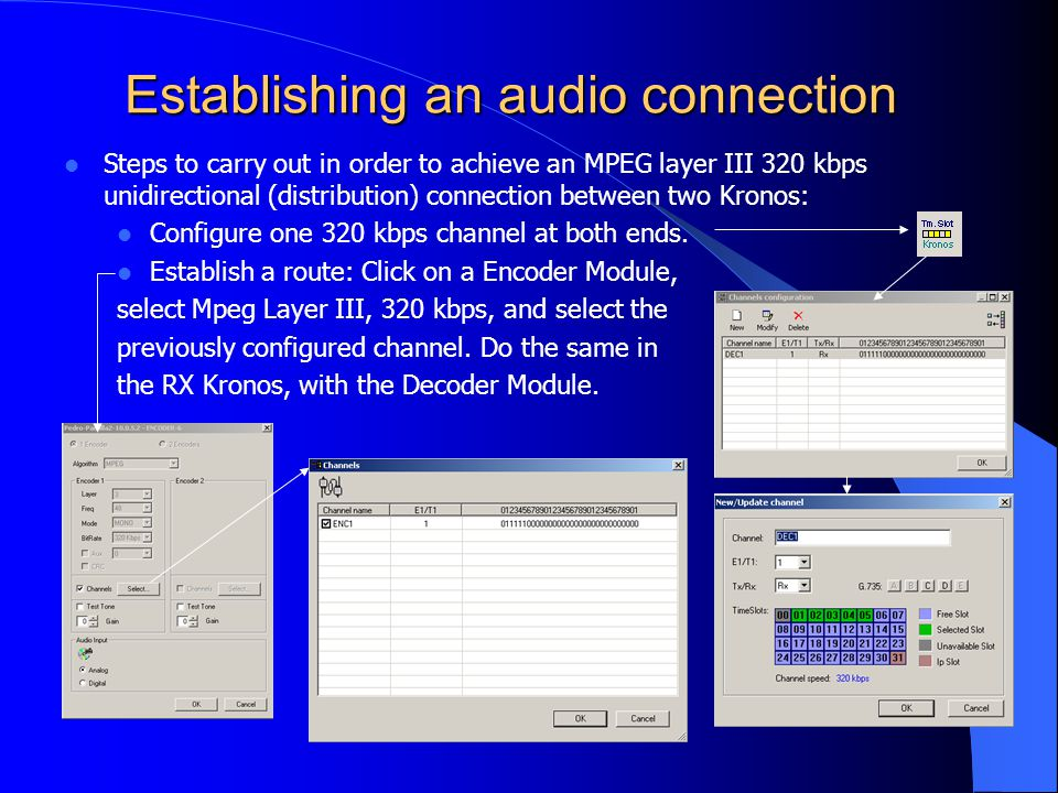 Establishing an audio connection Steps to carry out in order to achieve an MPEG layer III 320 kbps unidirectional (distribution) connection between two Kronos: Configure one 320 kbps channel at both ends.