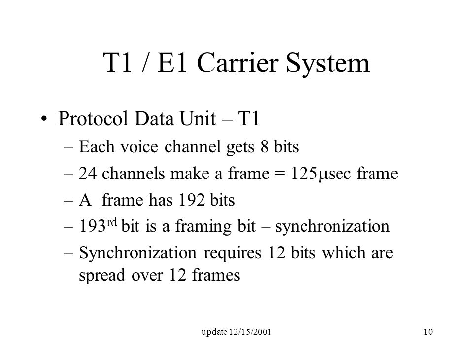 update 12/15/200110 T1 / E1 Carrier System Protocol Data Unit – T1 –Each voice channel gets 8 bits –24 channels make a frame = 125  sec frame –A frame has 192 bits –193 rd bit is a framing bit – synchronization –Synchronization requires 12 bits which are spread over 12 frames