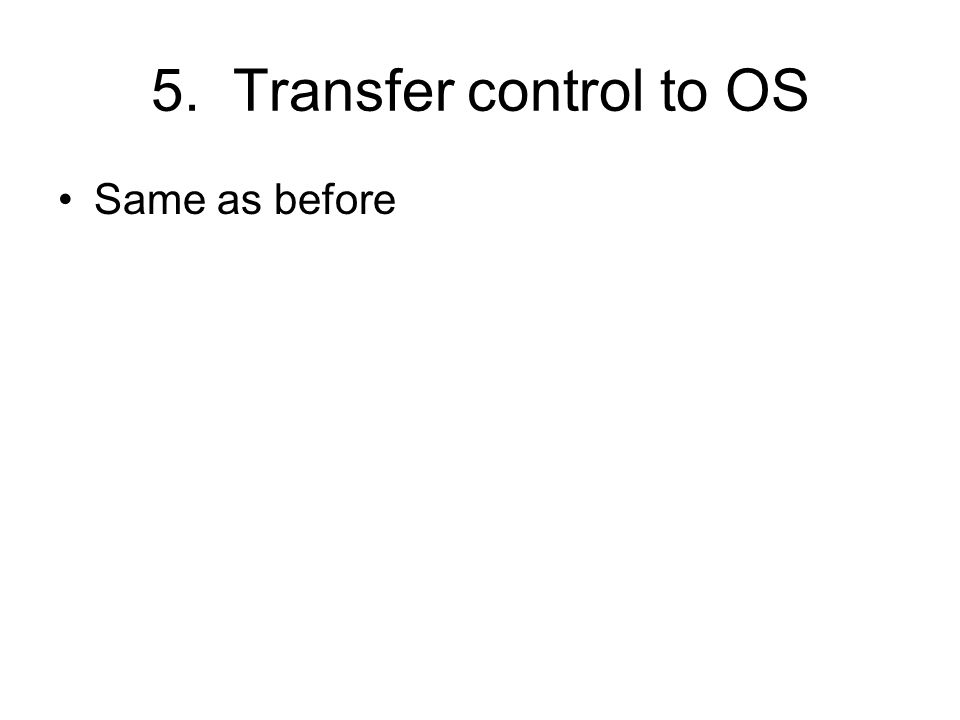 5. Transfer control to OS Same as before