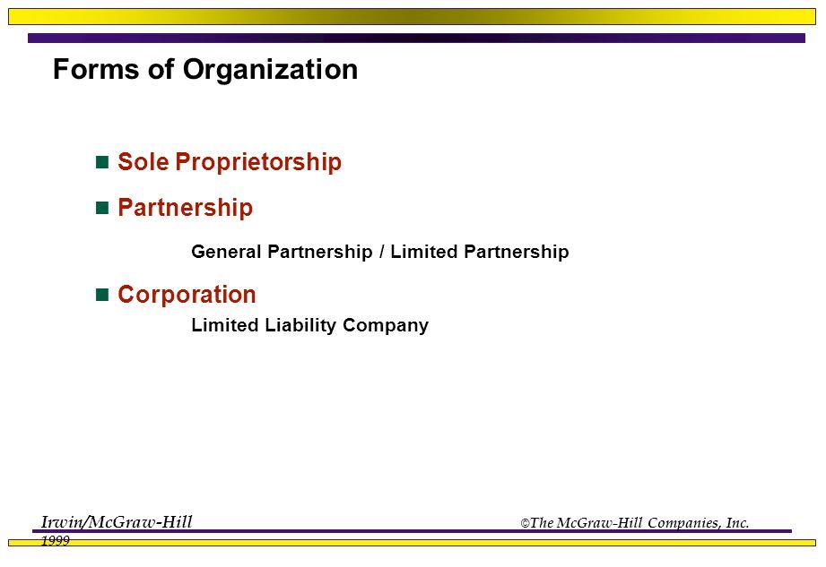 Irwin/McGraw-Hill © The McGraw-Hill Companies, Inc. 1999 Forms of Organization Sole Proprietorship Partnership General Partnership / Limited Partnersh