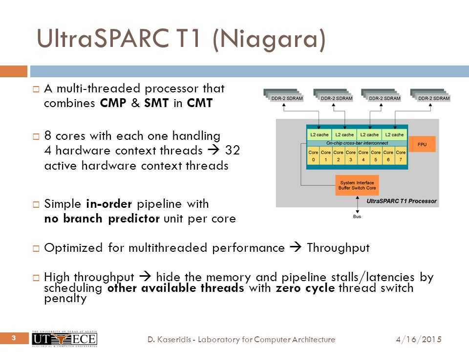 UltraSPARC T1 (Niagara) 4/16/2015D. Kaseridis - Laboratory for Computer Architecture 3  A multi-threaded processor that combines CMP & SMT in CMT  8