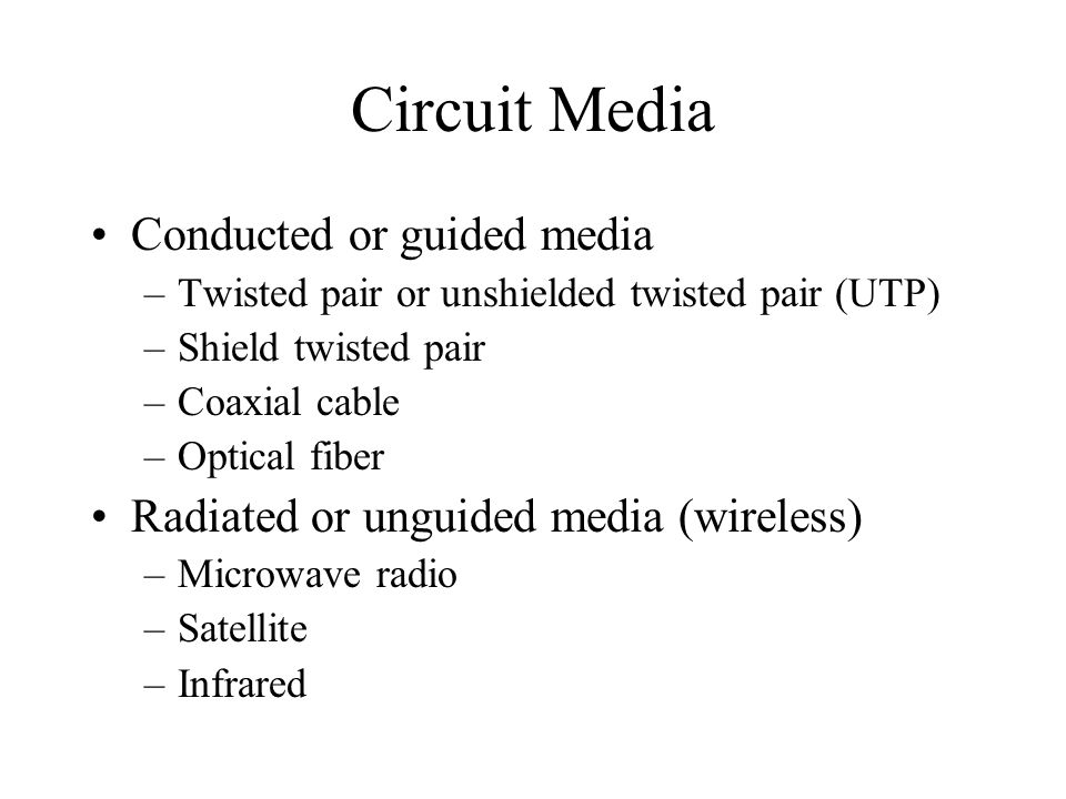Circuit Media Conducted or guided media –Twisted pair or unshielded twisted pair (UTP) –Shield twisted pair –Coaxial cable –Optical fiber Radiated or unguided media (wireless) –Microwave radio –Satellite –Infrared