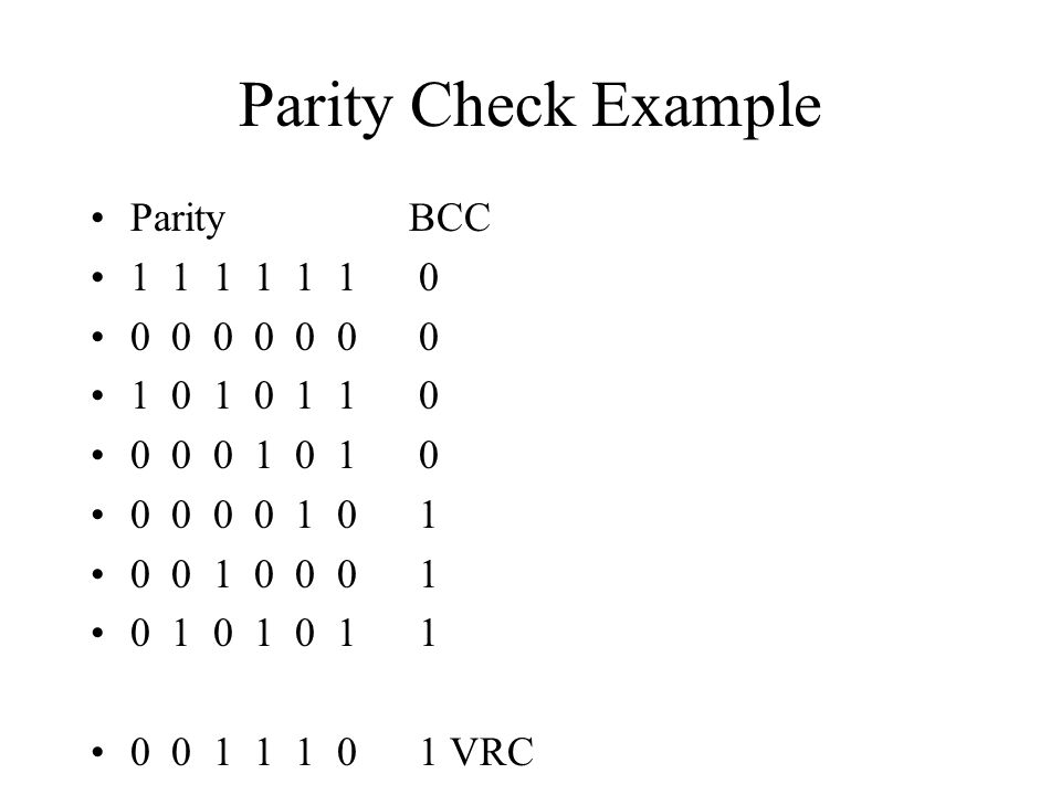 Parity Check Example ParityBCC 1 1 1 1 1 1 0 0 0 0 0 0 0 0 1 0 1 0 1 1 0 0 0 0 1 0 1 0 0 0 0 0 1 0 1 0 0 1 0 0 0 1 0 1 0 1 0 1 1 0 0 1 1 1 0 1 VRC