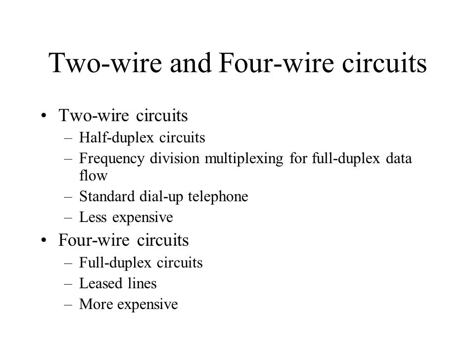 Analog Circuits Voice grade circuits –Low speed but up to 56,00bps –Noise –Error Low-speed circuits or subvoice-grade circuits –Subdivide voice grade circuit to 12 or 24 circuits –Speed ranges between 45 to 200 bps –Burglar alarm, fire alarm, telegraph, & Teletypewriter usage Use Amplifier for long distance