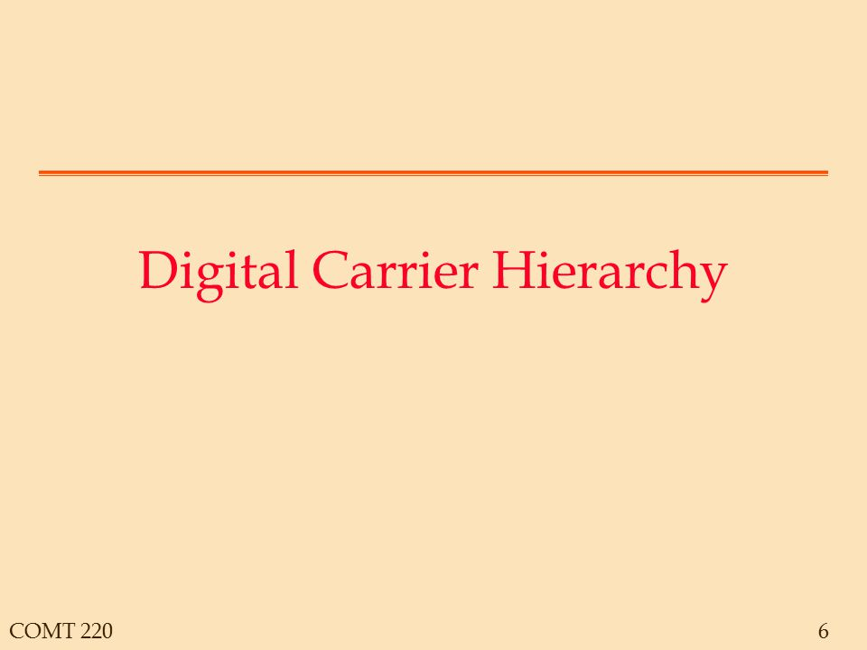 COMT 2207 The North American Digital Carrier System The Basic channel is a DS0 = 64kbps DS1 = 24 x DS0 plus framing = 1.544Mbps DS1C = 2 x DS1 DS2 = 4 x DS1 DS3 = 28 x DS1