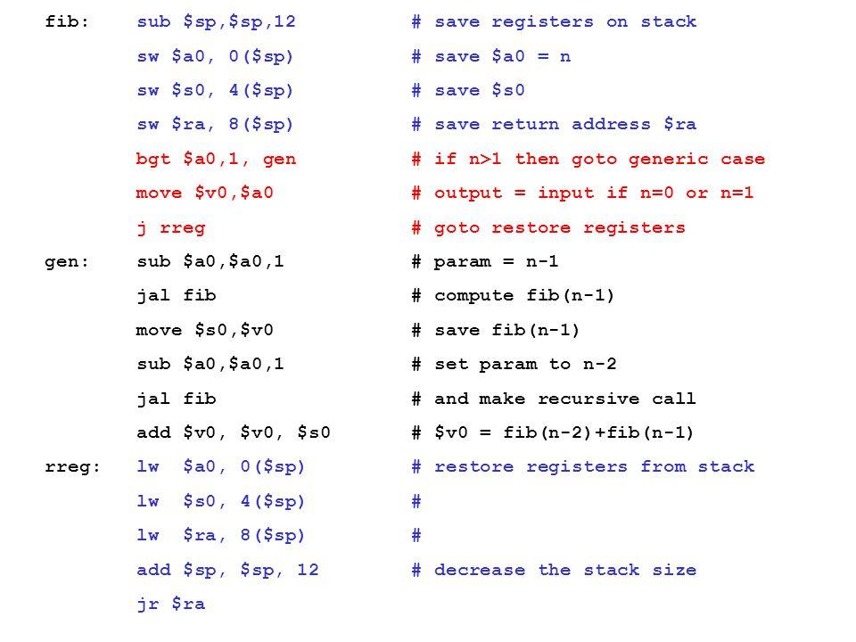 fib: sub $sp,$sp,12 # save registers on stack sw $a0, 0($sp) # save $a0 = n sw $s0, 4($sp) # save $s0 sw $ra, 8($sp) # save return address $ra bgt $a0,1, gen # if n>1 then goto generic case move $v0,$a0 # output = input if n=0 or n=1 j rreg # goto restore registers gen: sub $a0,$a0,1 # param = n-1 jal fib # compute fib(n-1) move $s0,$v0 # save fib(n-1) sub $a0,$a0,1 # set param to n-2 jal fib # and make recursive call add $v0, $v0, $s0 # $v0 = fib(n-2)+fib(n-1) rreg: lw $a0, 0($sp) # restore registers from stack lw $s0, 4($sp) # lw $ra, 8($sp) # add $sp, $sp, 12 # decrease the stack size jr $ra