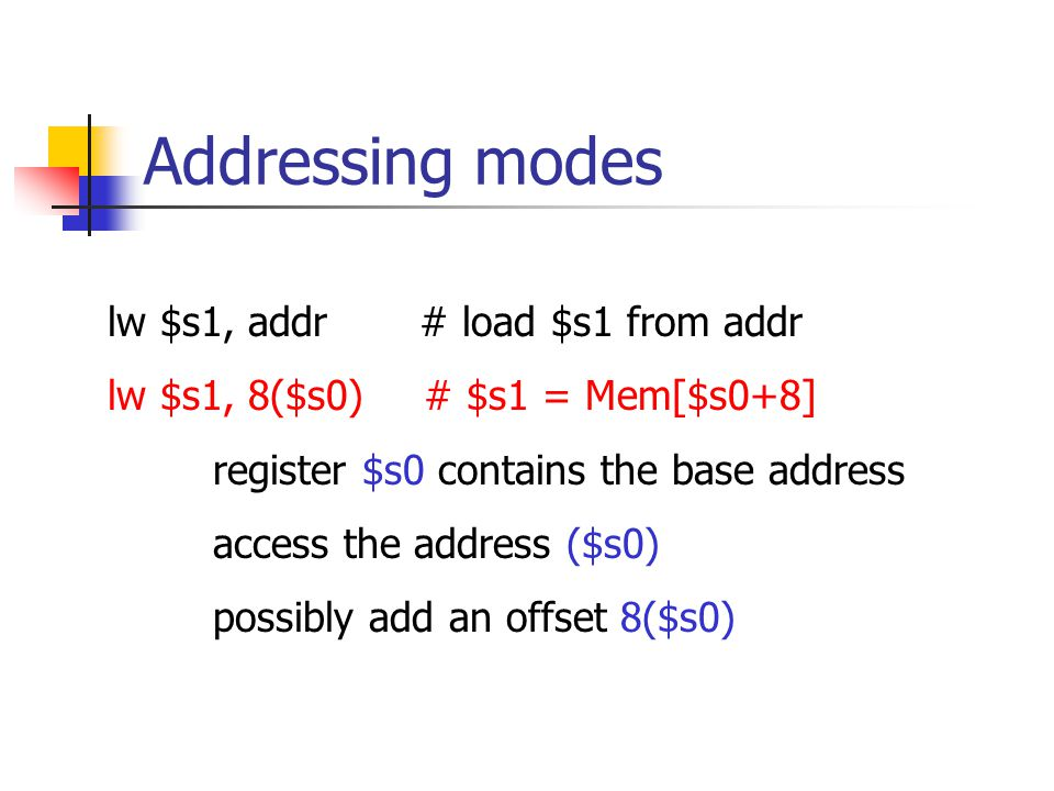 Addressing modes lw $s1, addr # load $s1 from addr lw $s1, 8($s0)# $s1 = Mem[$s0+8] register $s0 contains the base address access the address ($s0) possibly add an offset 8($s0)
