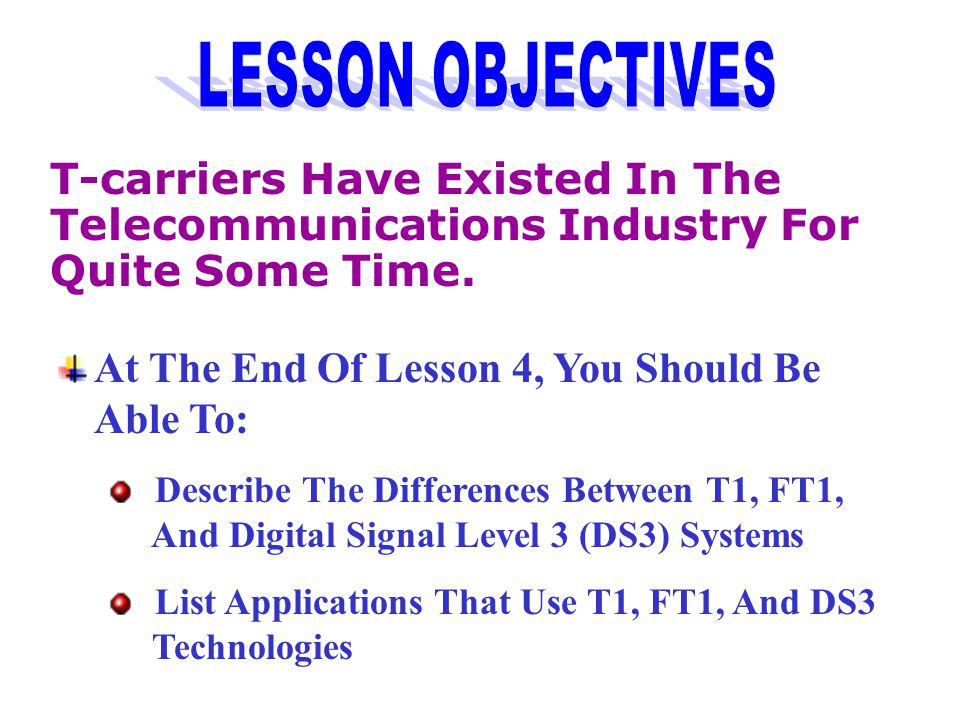 At The End Of Lesson 4, You Should Be Able To: Describe The Differences Between T1, FT1, And Digital Signal Level 3 (DS3) Systems List Applications That Use T1, FT1, And DS3 Technologies T-carriers Have Existed In The Telecommunications Industry For Quite Some Time.
