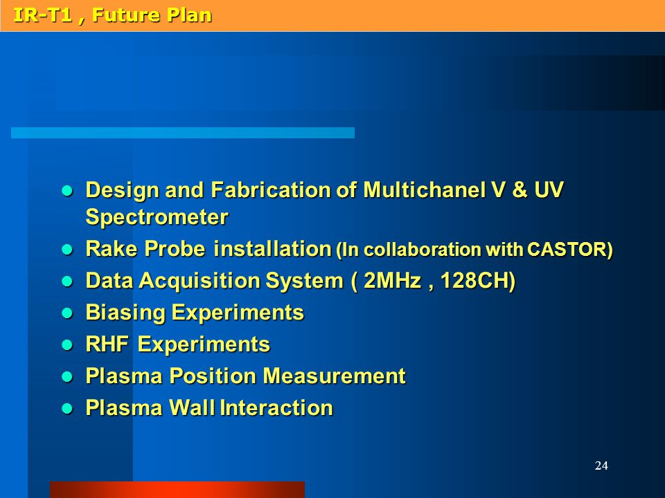 24 Design and Fabrication of Multichanel V & UV Spectrometer Design and Fabrication of Multichanel V & UV Spectrometer Rake Probe installation (In collaboration with CASTOR) Rake Probe installation (In collaboration with CASTOR) Data Acquisition System ( 2MHz, 128CH) Data Acquisition System ( 2MHz, 128CH) Biasing Experiments Biasing Experiments RHF Experiments RHF Experiments Plasma Position Measurement Plasma Position Measurement Plasma Wall Interaction Plasma Wall Interaction IR-T1, Future Plan