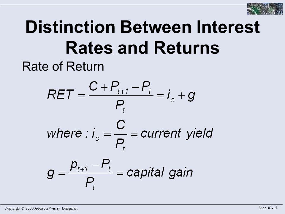 Copyright © 2000 Addison Wesley Longman Slide #3-15 Distinction Between Interest Rates and Returns Rate of Return