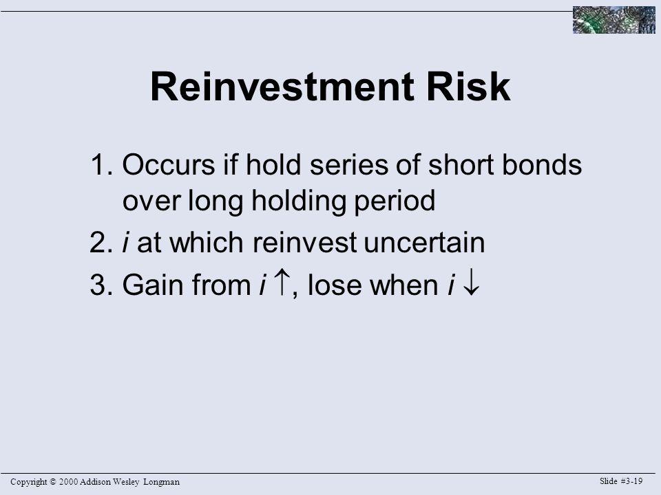 Copyright © 2000 Addison Wesley Longman Slide #3-19 Reinvestment Risk 1.
