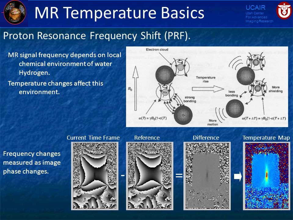 UCAIR Utah Center For Advanced Imaging Research MR Temperature Basics Proton Resonance Frequency Shift (PRF). MR signal frequency depends on local che
