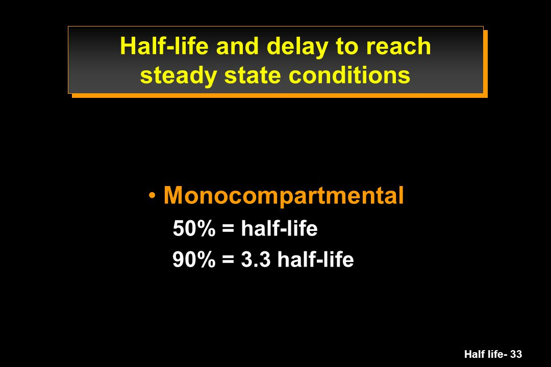 Half life- 33 Half-life and delay to reach steady state conditions Monocompartmental 50% = half-life 90% = 3.3 half-life