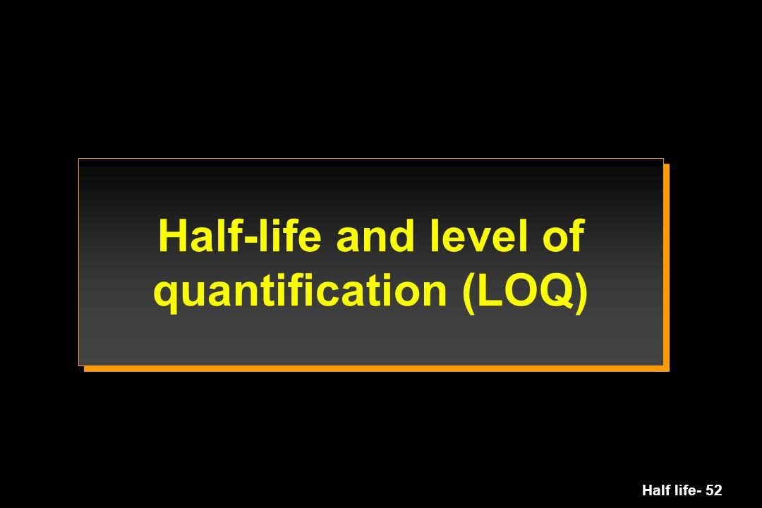 Half life- 52 Half-life and level of quantification (LOQ)