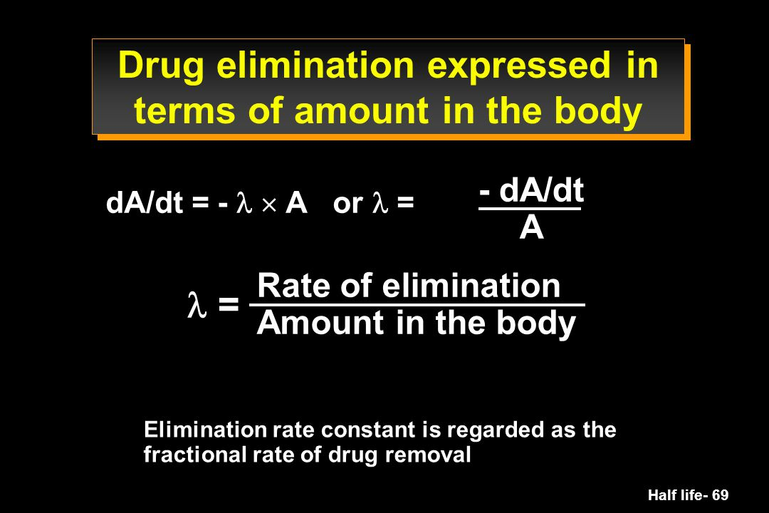 Half life- 69 Drug elimination expressed in terms of amount in the body dA/dt = -  A or = = Rate of elimination Amount in the body Elimination rate