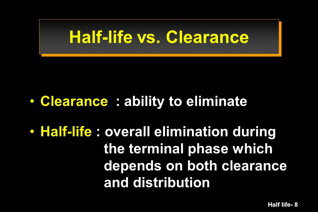 Half life- 49 Rate constant K el = = Fractional rate of drug elimination can be viewed as the fraction of the volume of distribution from which drug is removed by unit of time e.g.: K el = 0.01 h -1  1% per h Rate of elimination Amount in body Cl V