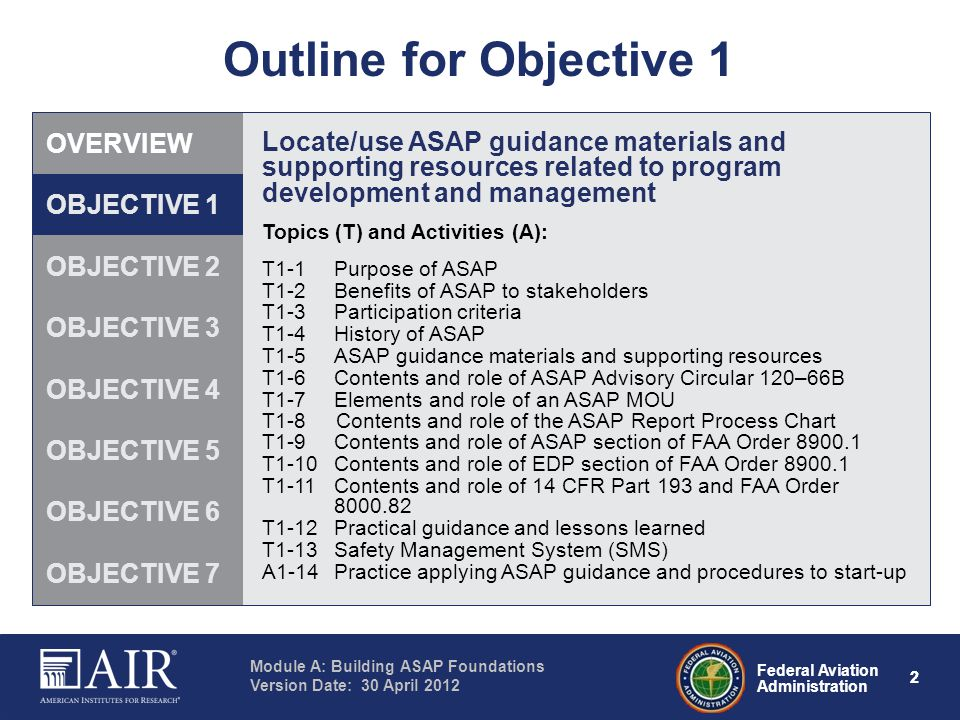 Federal Aviation Administration Module A: Building ASAP Foundations Version Date: 30 April 2012 22 Outline for Objective 1 Locate/use ASAP guidance ma