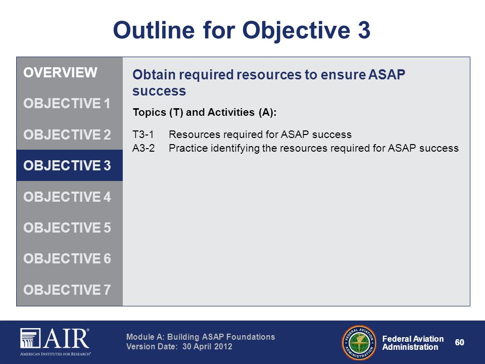 Federal Aviation Administration Module A: Building ASAP Foundations Version Date: 30 April 2012 60 Outline for Objective 3 Obtain required resources t