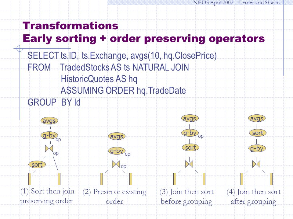NEDS April 2002 – Lerner and Shasha SELECT ts.ID, ts.Exchange, avgs(10, hq.ClosePrice) FROM TradedStocks AS ts NATURAL JOIN HistoricQuotes AS hq ASSUMING ORDER hq.TradeDate GROUP BY Id Transformations Early sorting + order preserving operators (1) Sort then join preserving order (2) Preserve existing order (3) Join then sort before grouping op sort g-by avgs op avgs g-by op avgs g-by op sort (4) Join then sort after grouping avgs g-by sort
