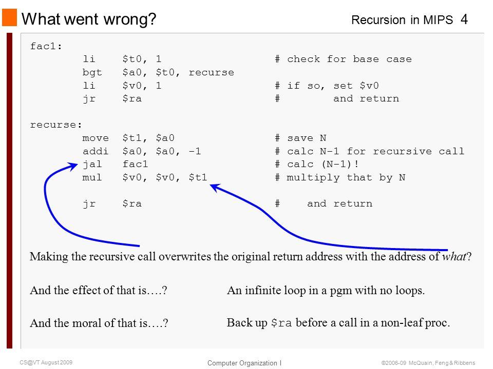 Recursion in MIPS Computer Organization I 5 CS@VT August 2009 ©2006-09 McQuain, Feng & Ribbens Factorial: Second Version fac2: li $t0, 1 # check for base case bgt $a0, $t0, recurse li $v0, 1 # if so, set return value jr $ra # and return recurse: move $t1, $a0 # save N addi $a0, $a0, -1 # calc N-1 for recursive call addi $sp, $sp, -4 # save return address on stack sw $ra, ($sp) jal fac2 # calc (N-1).
