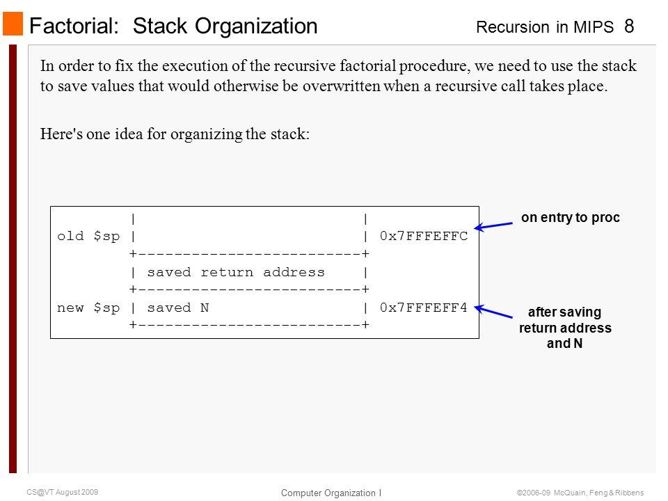 Recursion in MIPS Computer Organization I 9 CS@VT August 2009 ©2006-09 McQuain, Feng & Ribbens Factorial: Third Version fac3: li $t0, 1 # check for base case bgt $a0, $t0, recurse li $v0, 1 # if so, set return value jr $ra # and return recurse: addi $sp, $sp, -8 # make room on stack for sw $ra, 4($sp) # return address, and sw $a0, 0($sp) # N addi $a0, $a0, -1 # calc N-1 for recursive call jal fac3 # calc (N-1).