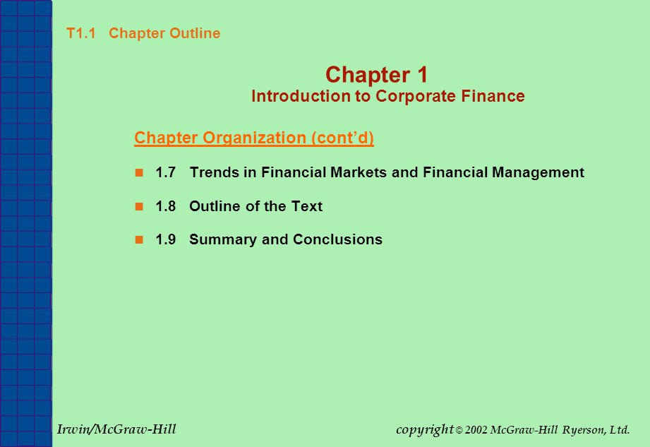 FINANCIAL ANALYSIS AND FORECASTING (HEC-MONTREAL) Fundamentals of Corporate Finance 2002 McGraw-Hill Ryerson, Ltd Slide 18 T1.12 Chapter 1 Quick Quiz Quick Quiz 1.