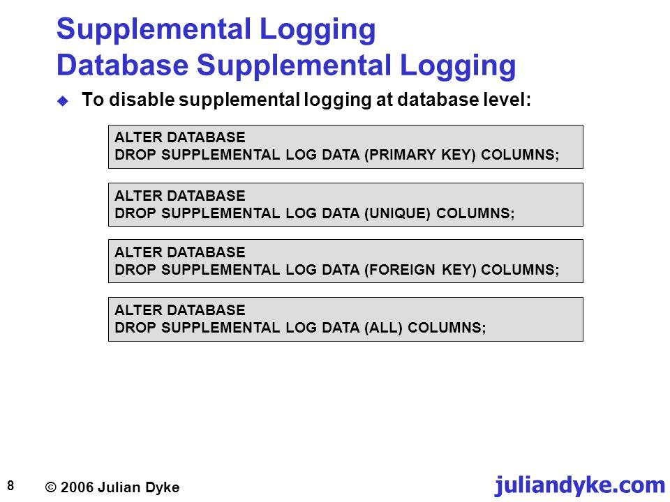 © 2006 Julian Dyke juliandyke.com 9 Supplemental Logging Database Supplemental Logging  To monitor database level supplemental logging: SELECT supplemental_log_data_min, supplemental_log_data_pk, supplemental_log_data_ui, supplemental_log_data_fk, supplemental_log_data_all FROM v$database;