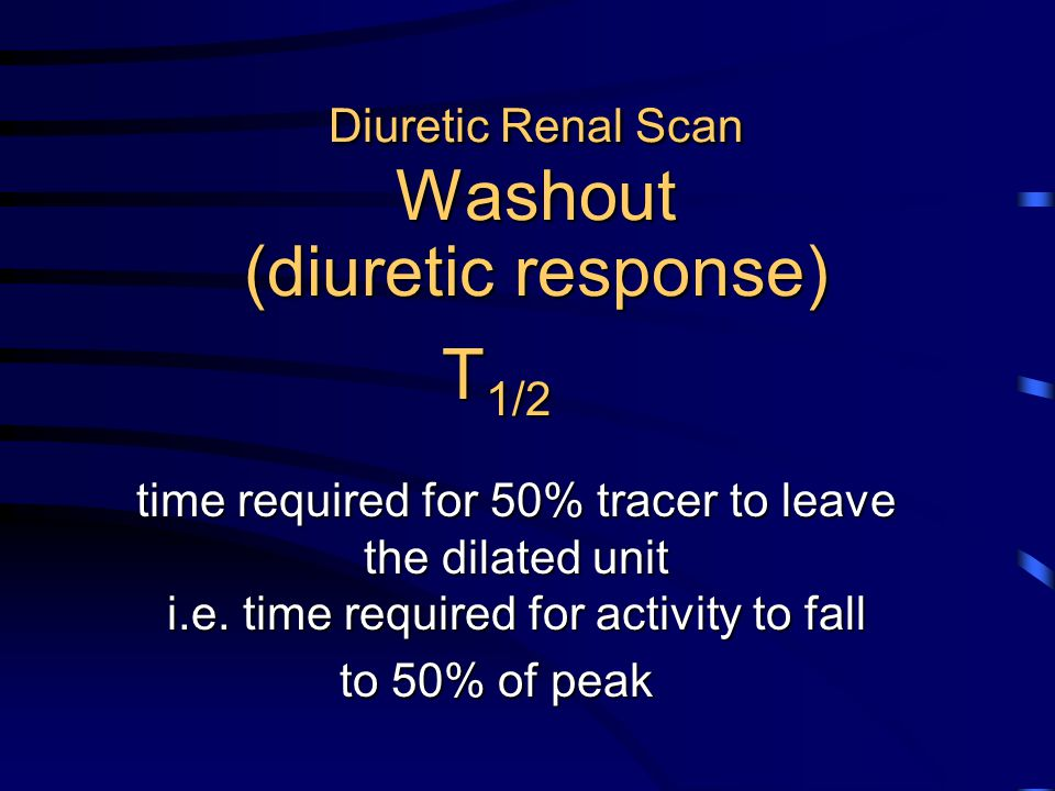 Diuretic Renal Scan Washout (diuretic response) T 1/2 time required for 50% tracer to leave the dilated unit i.e. time required for activity to fall t