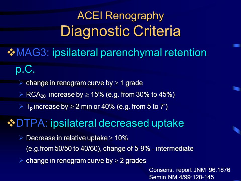 ACEI Renography Diagnostic Criteria  MAG3: ipsilateral parenchymal retention p.C.  change in renogram curve by  1 grade  RCA 20 increase by  15%