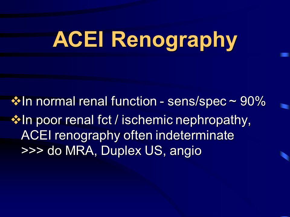 ACEI Renography  In normal renal function - sens/spec ~ 90%  In poor renal fct / ischemic nephropathy, ACEI renography often indeterminate >>> do MR