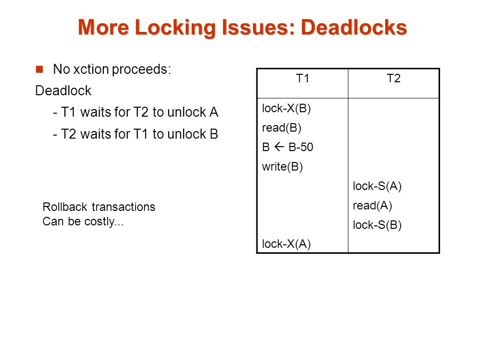 More Locking Issues: Deadlocks No xction proceeds: Deadlock - T1 waits for T2 to unlock A - T2 waits for T1 to unlock B T1T2 lock-X(B) read(B) B  B-50 write(B) lock-X(A) lock-S(A) read(A) lock-S(B) Rollback transactions Can be costly...