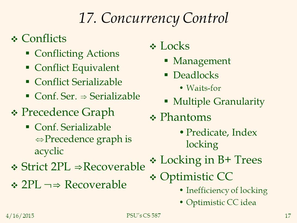 4/16/201517 PSU's CS 587 17. Concurrency Control  Conflicts  Conflicting Actions  Conflict Equivalent  Conflict Serializable  Conf. Ser. ⇒ Serial