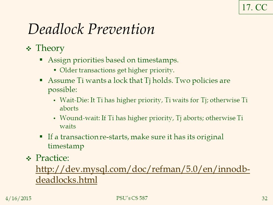4/16/201532 PSU's CS 587 Deadlock Prevention  Theory  Assign priorities based on timestamps.