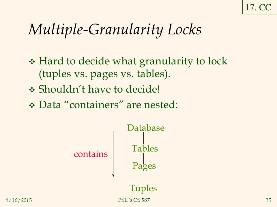 4/16/201535 PSU's CS 587 Multiple-Granularity Locks  Hard to decide what granularity to lock (tuples vs.