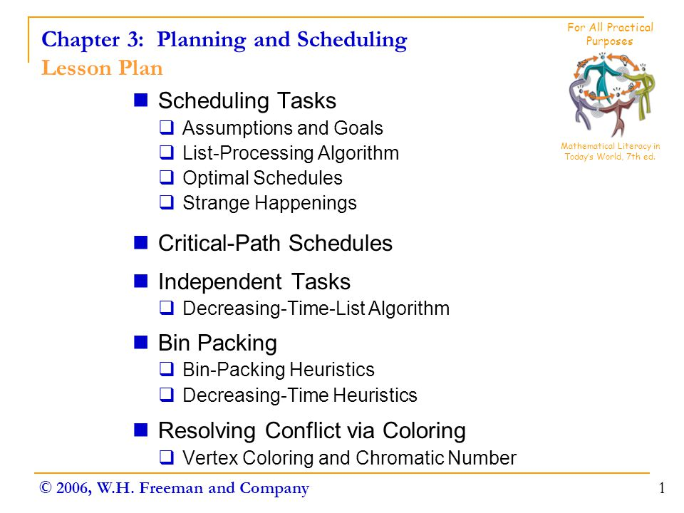 Chapter 3: Planning and Scheduling Lesson Plan Scheduling Tasks  Assumptions and Goals  List-Processing Algorithm  Optimal Schedules  Strange Happ