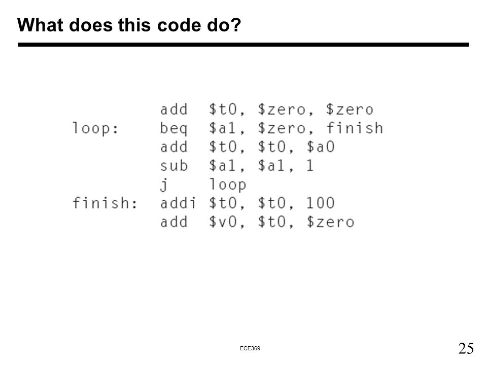 25 ECE369 What does this code do