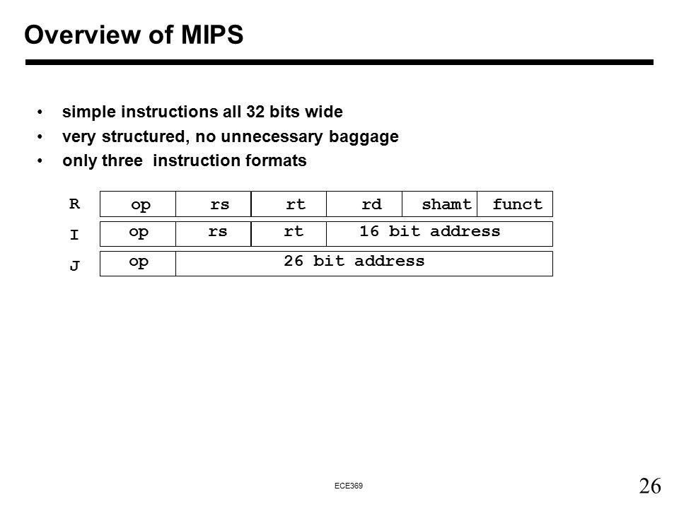 26 ECE369 simple instructions all 32 bits wide very structured, no unnecessary baggage only three instruction formats op rs rt rdshamtfunct op rs rt 16 bit address op 26 bit address RIJRIJ Overview of MIPS