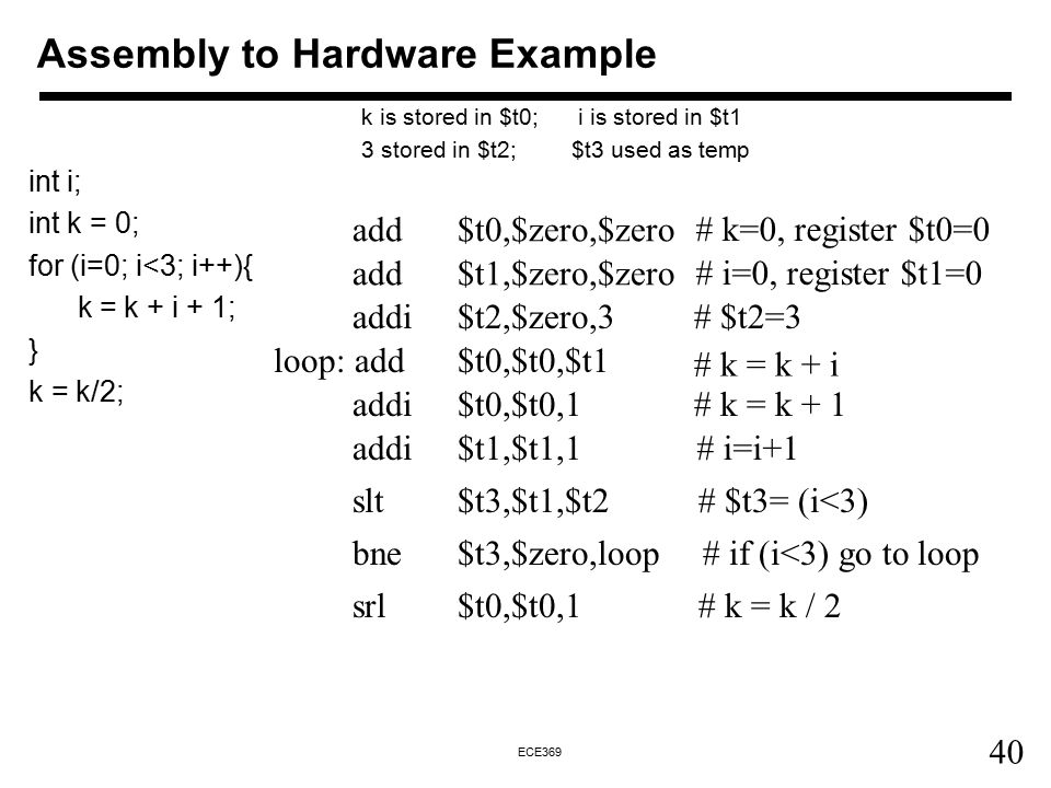 40 ECE369 Assembly to Hardware Example int i; int k = 0; for (i=0; i<3; i++){ k = k + i + 1; } k = k/2; add $t1,$zero,$zero # i=0, register $t1=0 k is stored in $t0; i is stored in $t1 3 stored in $t2;$t3 used as temp add $t0,$zero,$zero # k=0, register $t0=0 loop: add $t0,$t0,$t1 # k = k + i addi$t0,$t0,1# k = k + 1 addi$t2,$zero,3# $t2=3 addi$t1,$t1,1# i=i+1 slt$t3,$t1,$t2# $t3= (i<3) bne$t3,$zero,loop# if (i<3) go to loop srl$t0,$t0,1# k = k / 2